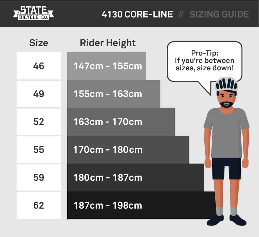 state bicycle 4130 size guide